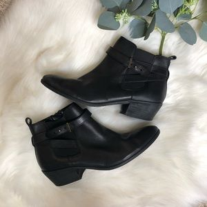 Sam Edelman | Black Leather Ankle Booties |